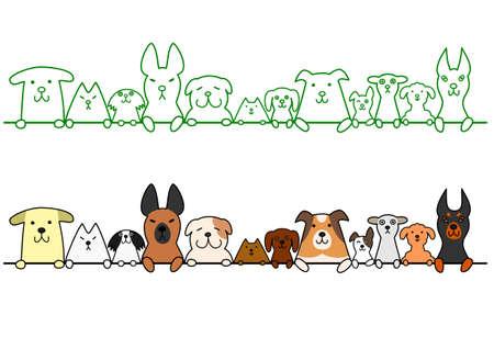honden in een rij met een kopie ruimte Stock Illustratie