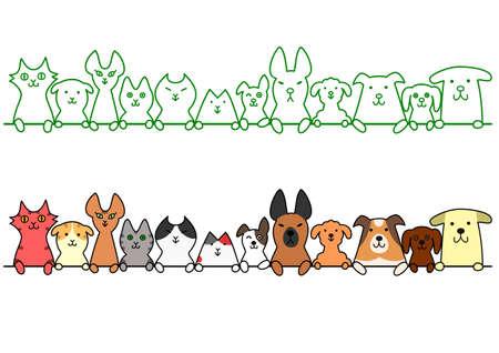 honden en katten in een rij met een kopie ruimte