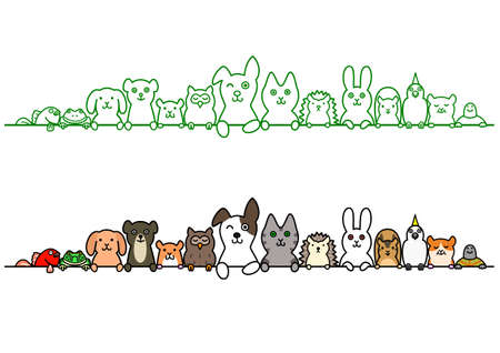 line up: pet animals in a row with copy space