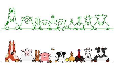 コピー スペースを持つ行の農場の動物
