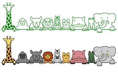 in a row: wild animals in a row with copy space