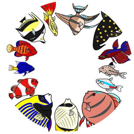 guppies: sea ??and freshwater tropical fishes in circle Illustration