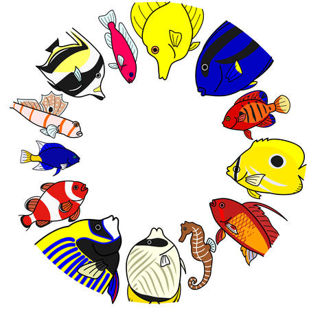 moorish idol: Tropical sea fishes in circle Illustration