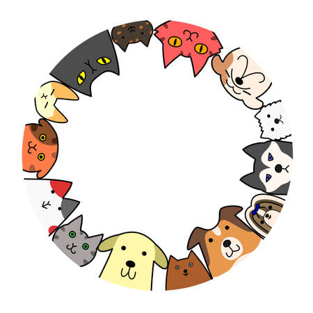 dogs and cats circle with copy space Vectores