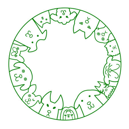 shih: dogs circle with copy space