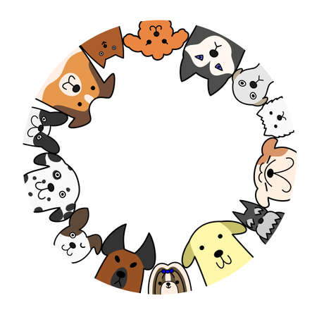 dogs circle with copy space