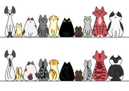 Cats in a row with copy space, front and back