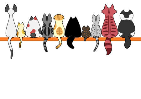 Cats back in a row with copy space 向量圖像