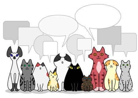 breeder: Cats group with speech bubbles