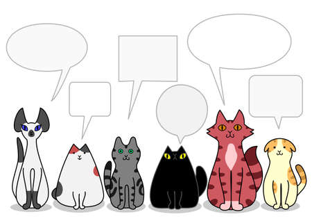 calico cat: Cats in a row with speech bubbles Illustration