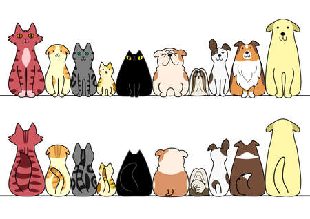 cat illustration: dogs and cats in a row with copy space, front and back