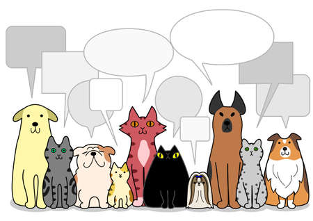 breeder: dogs and cats group with speech bubbles