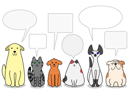 dogs and cats in a row with speech bubbles Illusztráció