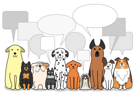 dogs group with speech bubbles