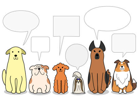dogs in a row with speech bubbles