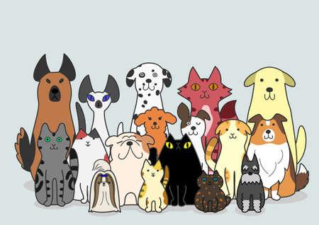 개와 고양이 그룹 일러스트