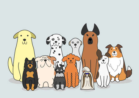 dogs group Ilustrace