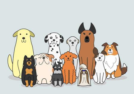 dogs group Illustration