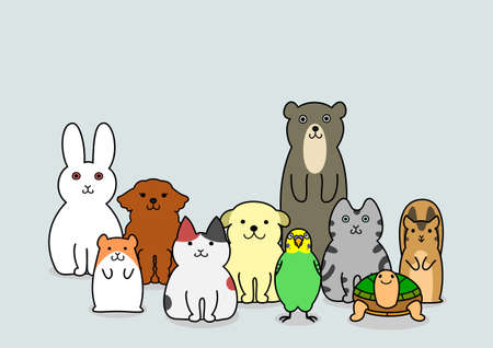 pet animals group Illustration