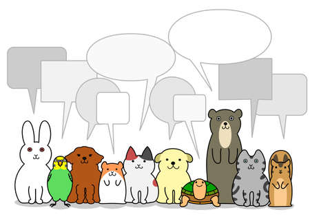 pet animals group with speech bubbles 向量圖像