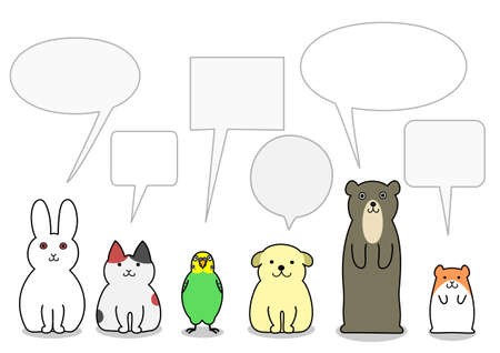 hamsters: pet animals in a row with speech bubbles