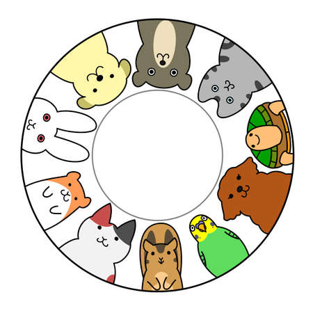 pets in circle with copy space