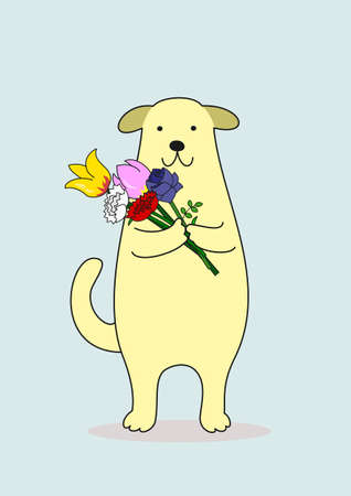 dog with a bouquet Illustration