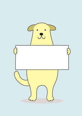 カードを持つ犬