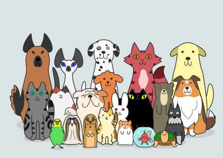 dogs, Cats and small animals group Vector
