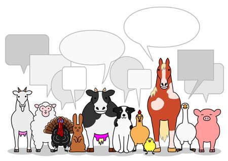 吹き出しと牛の動物グループ  イラスト・ベクター素材
