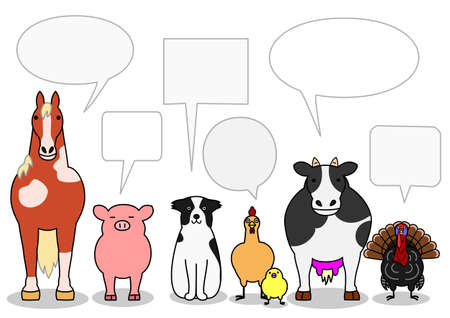 in a row: cattle animals in a row with speech bubbles