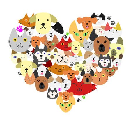 Dogs and cats face in heartshape