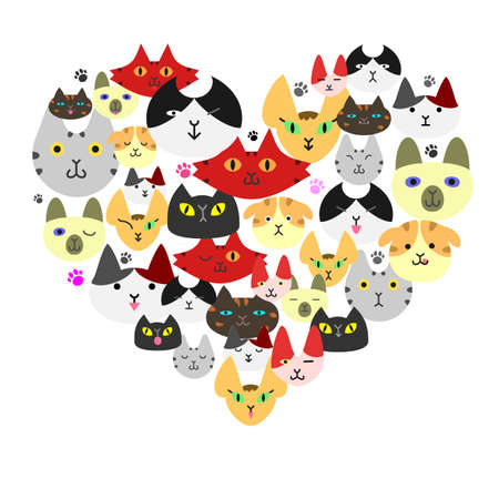 Cats face in heartshape