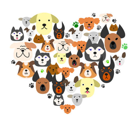 large group of animals: Dogs face in heartshape Illustration