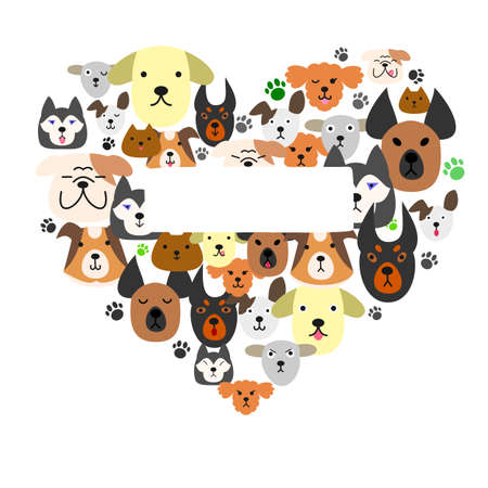 animal lover: Dogs face in heartshape Illustration
