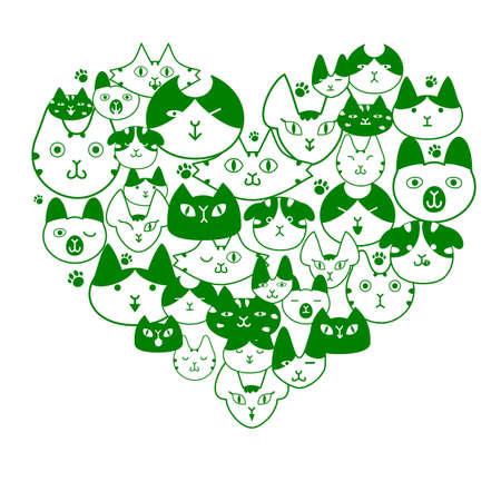 Cats face in heartshape Vector