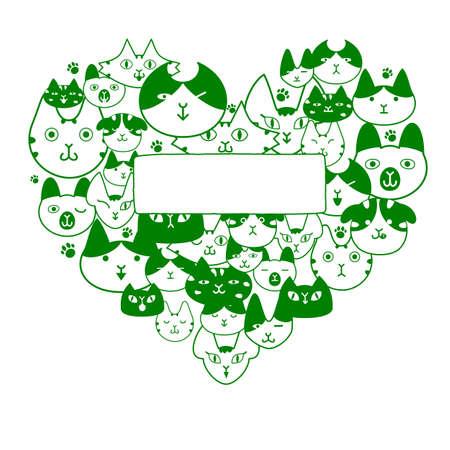 Cats face in heartshape