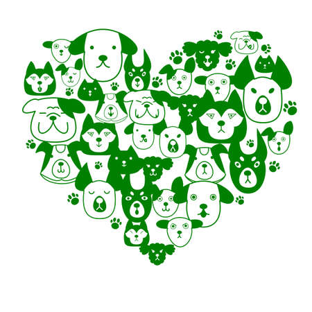 greyhound: Dogs face in heartshape Illustration
