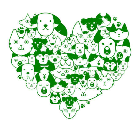 Dogs and cats face in heartshape Vector