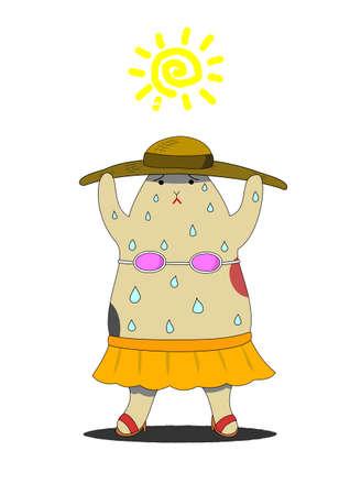 sweating: Cat sweating under the sun Illustration