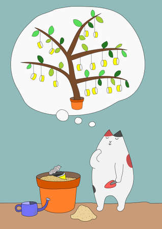 potting soil: Cat dreaming of harvest Illustration