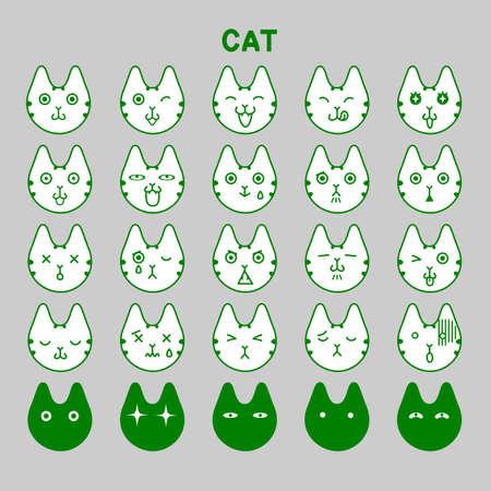 Cat emotions set Vector