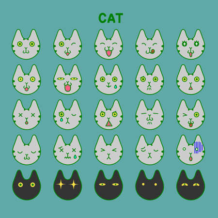 incomprehensible: Cat emotions set Illustration