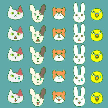 inexplicable: Pets facial expressions set Illustration