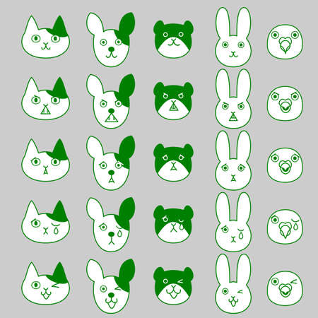 intimidation: Pets facial expressions set Illustration