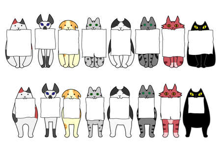 standing and sitting cats with board in their mouths