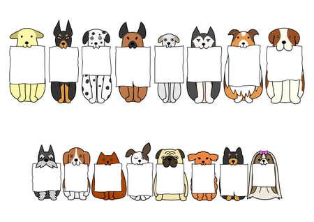 zitten honden met raad in hun mond Stock Illustratie