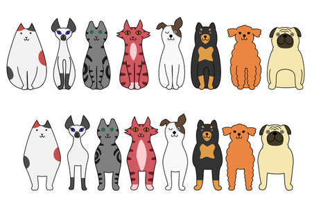 standing and sitting cats and dogs Ilustracja