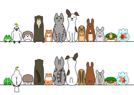 Gezelschapsdieren in de lijn, voor en achter