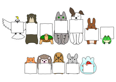 Pet animals in line with white cards